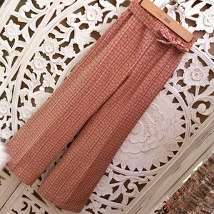 Vintage 70s crop flare high waist wide leg pants
